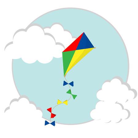 papalote: Kid volar colorido rojo, amarillo, azul, verde cometa de papel de vectores en el cielo con nubes