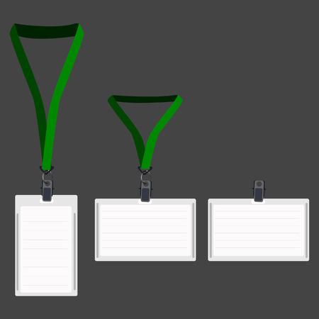lanyard: Tres cord�n blanco en blanco con el titular verde, tarjeta de identificaci�n, pase vip, pase cord�n