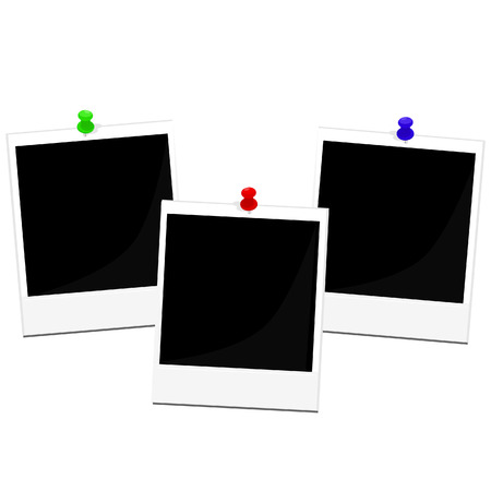 Polaroid photo frame with red, green and blue pin vector set  isolated on white