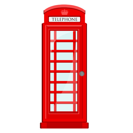 telephone booth: Red, britain, old telephone box vector icon isolated Illustration