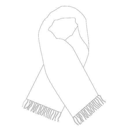 White winter scarf vector isolated, fashionable accessory, outline drawings