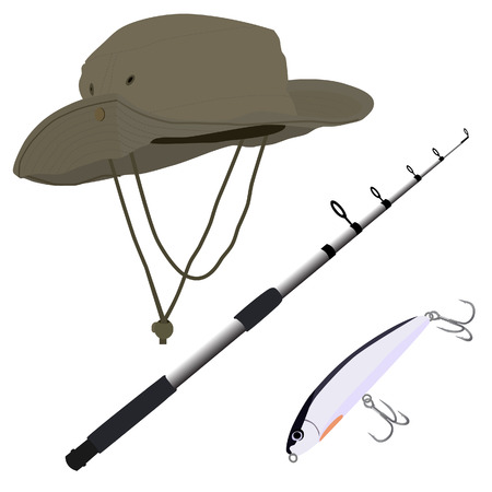 fishing pole: Fishing pole, hat and bait vector isolated on white background, fishing equipment