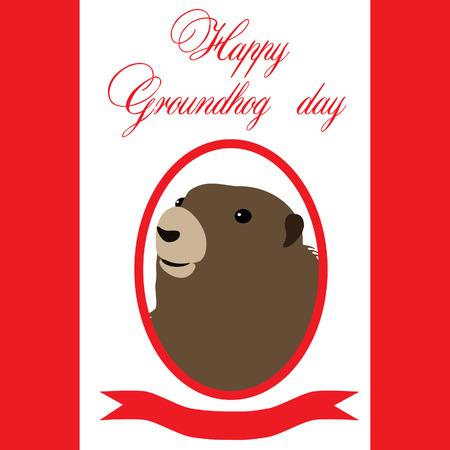 woodchuck: Groundhog day illustration,  symbol of groundhog day with text Illustration