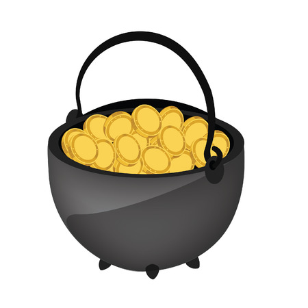 hoard: Money kettle vector, patrick holiday, kettle with gold Illustration