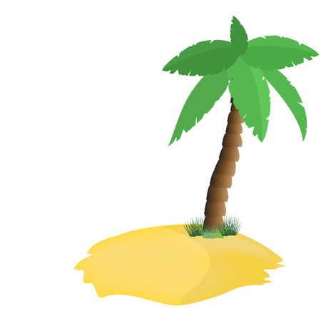 lagoon: Palm tree on island, tropical lagoon, vector isolated on white, paradise