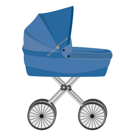 baby boy: Blue baby carriage isolated on white, baby pram, vector