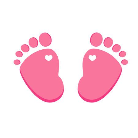 bà bà s: Vecteur empreinte bébé rose isolé sur blanc, fille