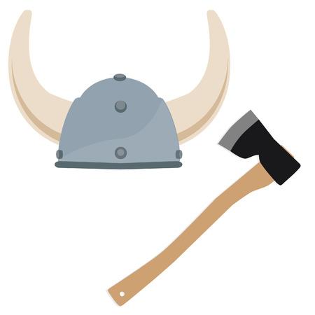 viking: Viking hat, viking helmet, norseman, scandinavian, axe vector