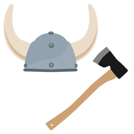 vikingo: Vikingo sombrero, casco de vikingo, norseman, escandinavo, vector hacha Vectores