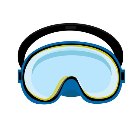 diving equipment: Blue diving mask, diving mask, mask isolated, diving equipment Illustration