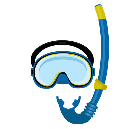 snorkeling: Blue diving maks, diving tube, swimming equipment, snorkeling