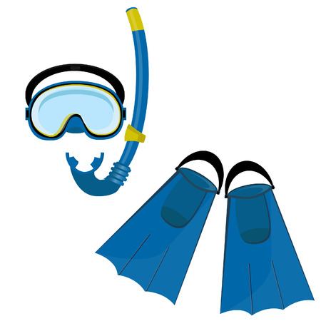 swiming: Blue diving maks, diving tube, swimming equipment, flippers Illustration