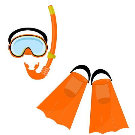 swiming: Orange diving maks, diving tube, swimming equipment, flippers Illustration