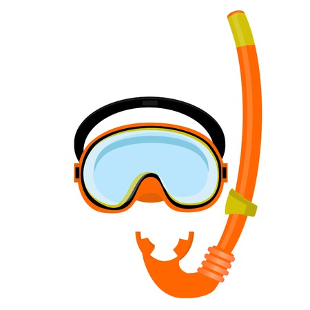 Orange diving maks, diving tube, swimming equipment, snorkeling Illustration