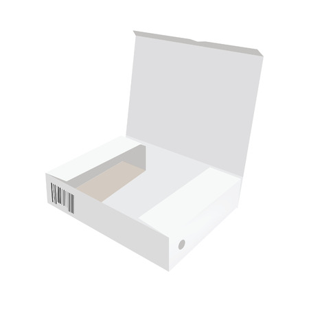software box: White box, cardboard box, software box, carton box, opened box Illustration