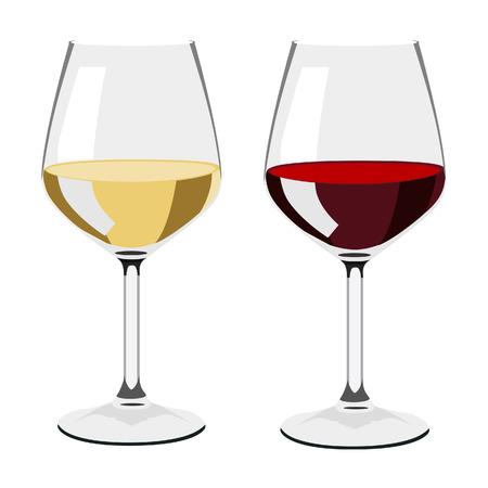 copa de vino: Copa de vino, copa de vino aislado, copa de vino blanco, conjunto de vidrio Vectores