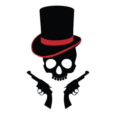 carribean: Cr�neo del pirata, dos rev�lveres, cilindro, sombrero de pirata, carribean Vectores