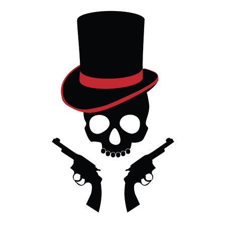 revolver: Pirate skull, two revolvers, cylinder, pirate hat, carribean Illustration