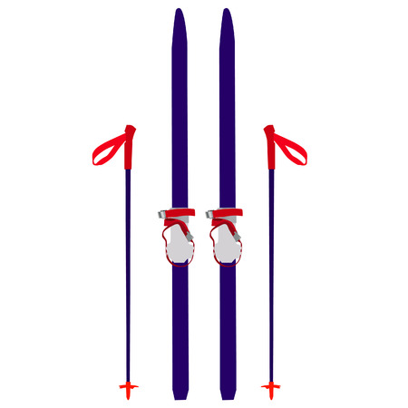 Skis vector, skis isolated, skis vector, blue skis Illustration