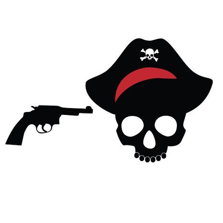 revolver: Pirate skull, pirate hat, bandana, revolver, isolated on white