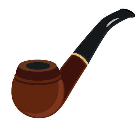smoking pipe: Brown smoking pipe, tobacco pipe, smoking pipe isolated, smoking pipe vector