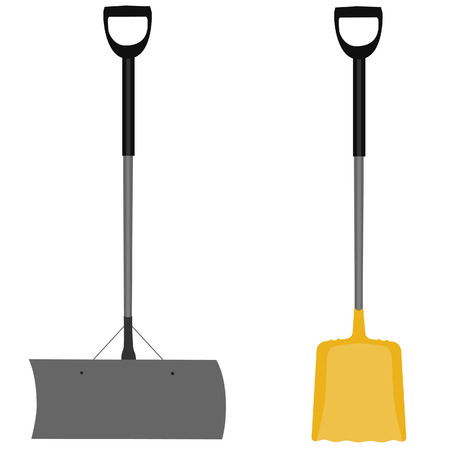 digging: Snow shovel, yellow shovel, handtool, digging, snow shovel isolated, grey snow shovel