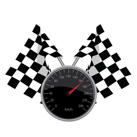 finish flags: Speedometer, start flags finish flags, crossed flags, vector, isolated on white Illustration