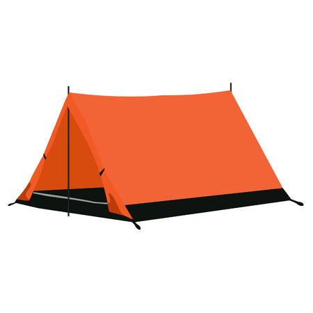 Camping tent, camping equipment, camping tent isolated on white Illustration