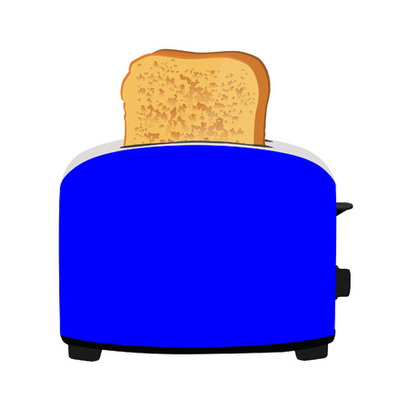 toasted: Blue toaster with bread isolated on white Illustration