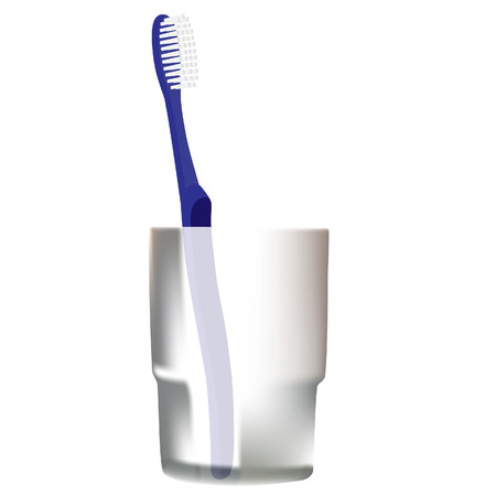 tidiness: Blue toothbrush, grey glass, toiletries, toothbrush, toothbrush vector Illustration