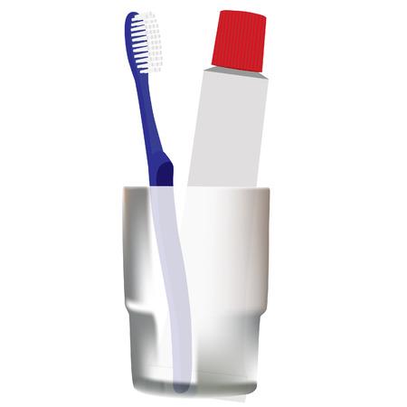 productos de aseo: Toothbrushe vector, pasta de dientes, art�culos de tocador, cepillo de dientes azul, cristal gris Vectores
