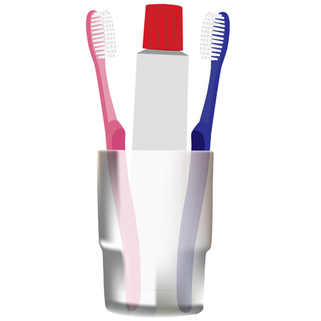 tidiness: Toothbrushes, toothpaste, toiletries, blue and pink toothbrush, grey glass Illustration