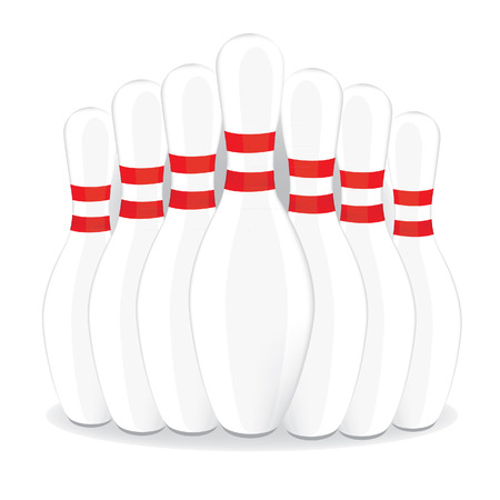 bowling strike: Bowling pins, bowling skittles, bowling pins isolated, bowling pin vector Illustration