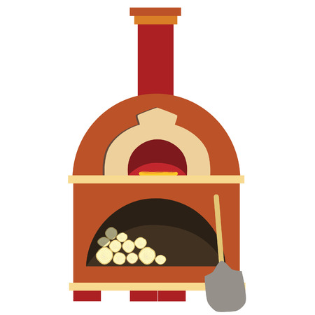 Pizza oven, brick oven, isolated on white, vector, pizzeria