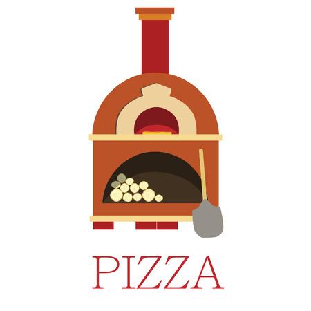 Pizza oven, bakstenen oven, geïsoleerd op wit, vector, pizzeria