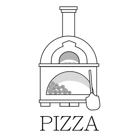 pizzeria: Pizza oven, brick oven, isolated on white, vector, pizzeria