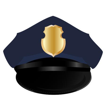 officier de police: chapeau de police, chapeau de police isol�, vecteur de chapeau de la police, sh�rif Illustration