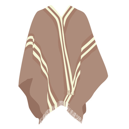 poncho: Mexican poncho, poncho vector, isolated on white, vector