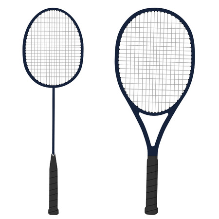racket sport: Raqueta de tenis, raqueta de b�dminton, el material de deporte, aislado en blanco Vectores