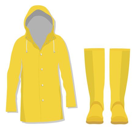 chaqueta: Capa de lluvia, botas de goma, chaqueta de lluvia, botas de goma Vectores
