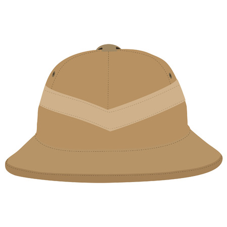 Safari hat, pith helmet, safari hat isolated, headware Illustration