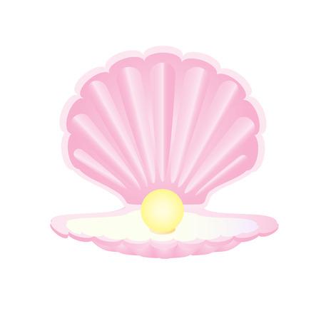Concha rosada con la perla, perla con cáscara, perla de la ostra Vectores