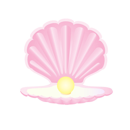 Pink seashell with pearl, pearl in shell, oyster pearl Illustration