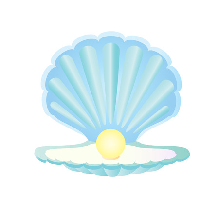 Blue seashell with pearl, pearl in shell, oyster pearl Ilustracja
