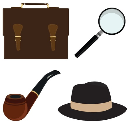 Smoking pipe, fedora hat, magnifier, briefcase, vector, isolated on white