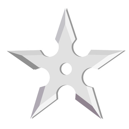 atma: Ninja throwing star isolated on white, shuriken, weapon