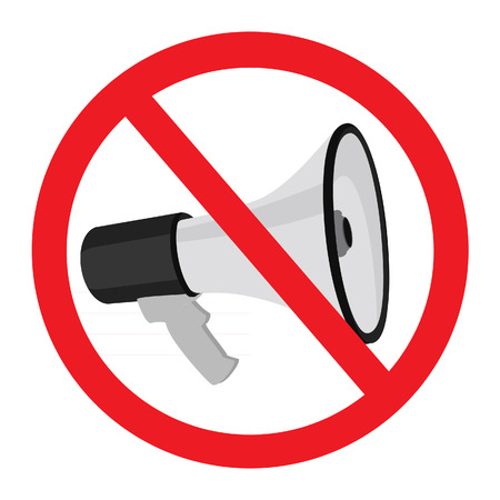 sign not to talk by phone: Megaphone, restricted, loudspeaker, vector sign, isolated on white Illustration