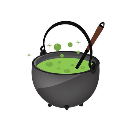 magic cauldron: Magic kettle, green poison, cauldron, pot vector