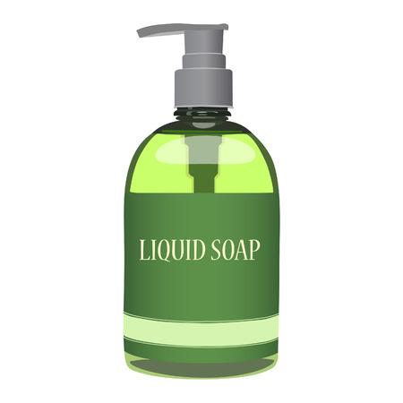 liquid: Green liquid soap bottle isolated on white Illustration