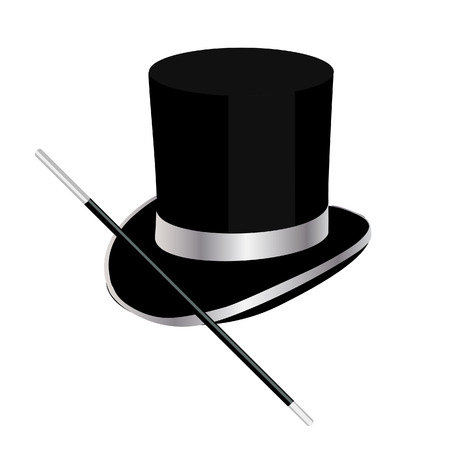 Magic hat, top hat, magic wand, magician hat Illustration